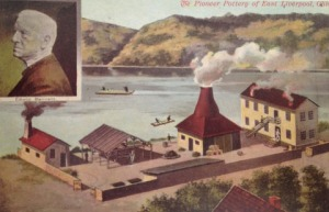 This illustration of Edwin Bennett's pottery in Ohio also includes a small portrait of Bennett.