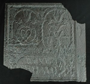 "Figure 1:  This 25.5 x 23.5"" plate from a five-plate stove is one of eight from the site that bear German or Pennsylvania Dutch motifs."